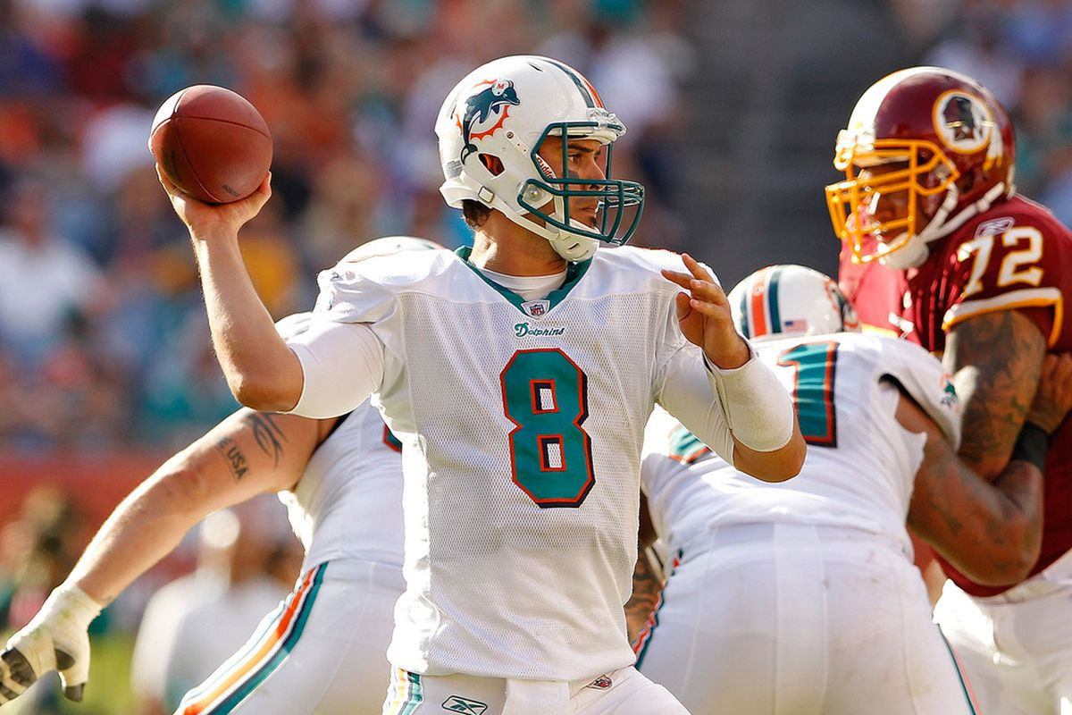 MIAMI GARDENS, FL - NOVEMBER 13:  Matt Moore #8 of the Miami Dolphins passes during a game against the Washington Redskins at Sun Life Stadium on November 13, 2011 in Miami Gardens, Florida.  (Photo by Mike Ehrmann/Getty Images)