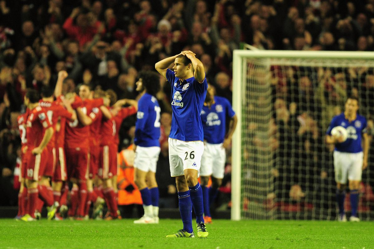 LIVERPOOL, ENGLAND - MARCH 13:  Dejected Jack Rodwell of Everton after defeat in the Barclays Premier League match between Liverpool and Everton at Anfield on March 13, 2012 in Liverpool, England.  (Photo by Jamie McDonald/Getty Images)