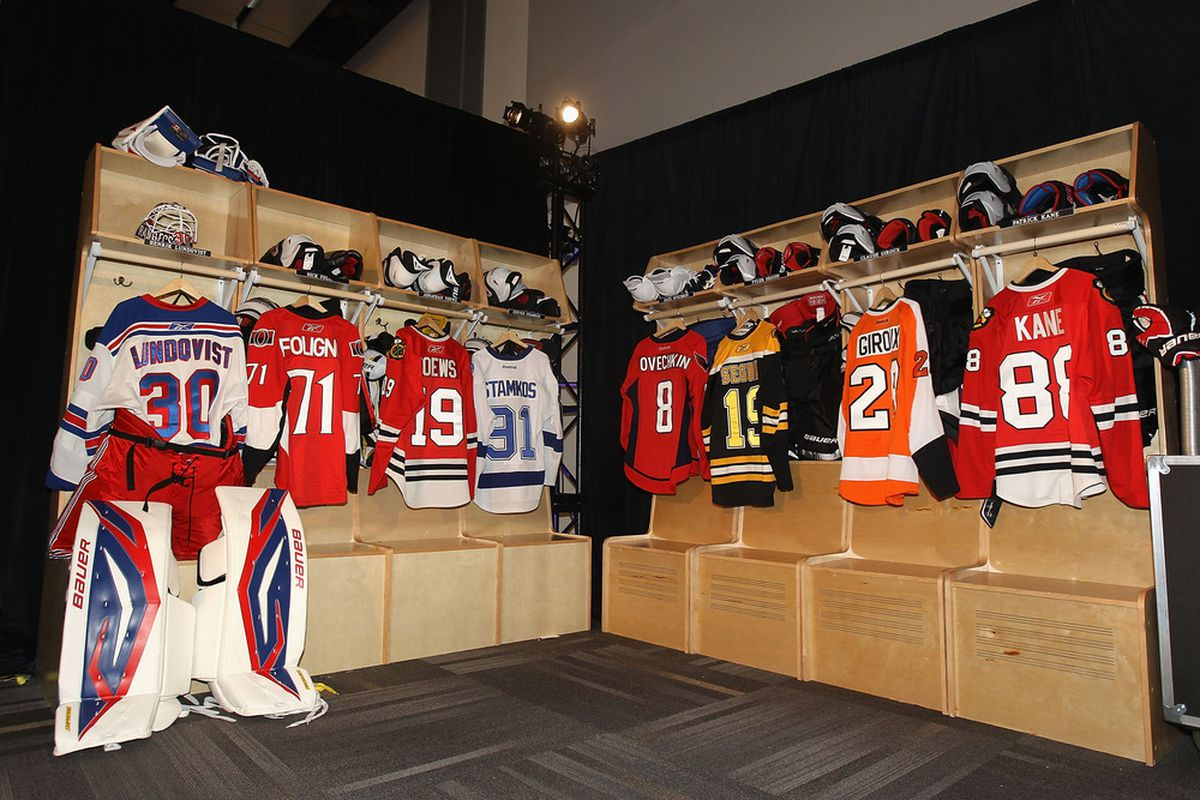 OTTAWA, ON - JANUARY 26:  NHL player jersey's are displayed in a mock locker room at the Ottawa Convention Centre as part of NHL All Star weekend on January 26, 2012 in Ottawa, Ontario, Canada.  (Photo by Christian Petersen/Getty Images)
