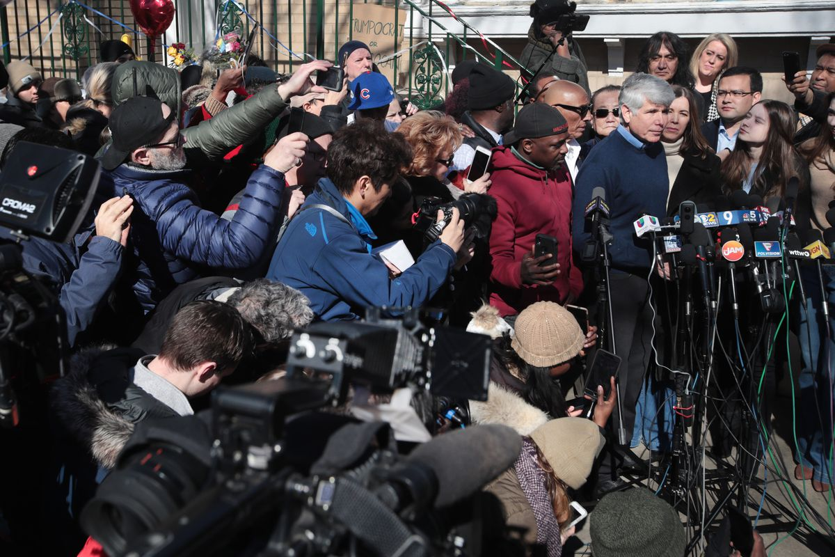 Former Gov. Rod Blagojevich talks to the media the day after he was freed from prison by President Donald Trump.