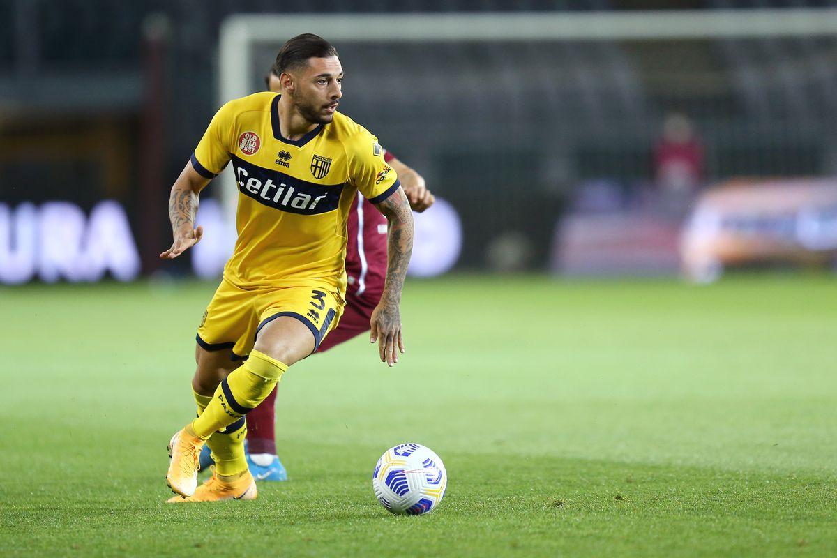 Giuseppe Pezzella of Parma Calcio in action during the...