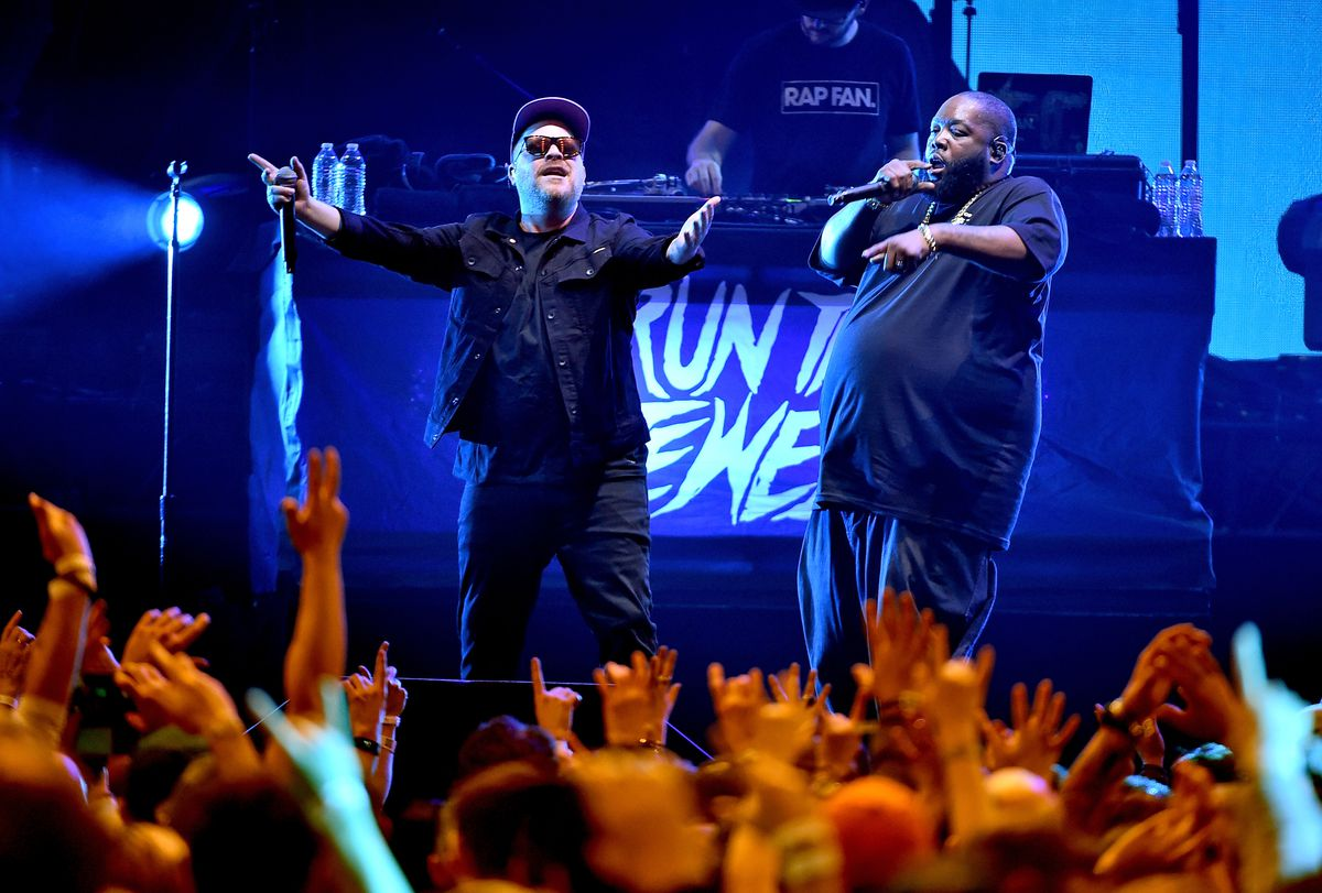 El-P and Killer Mike of Run the Jewels perform onstage at Atlantic Station on February 2, 2019 in Atlanta, Georgia. The duo headlines Riot Fest on Saturday night.