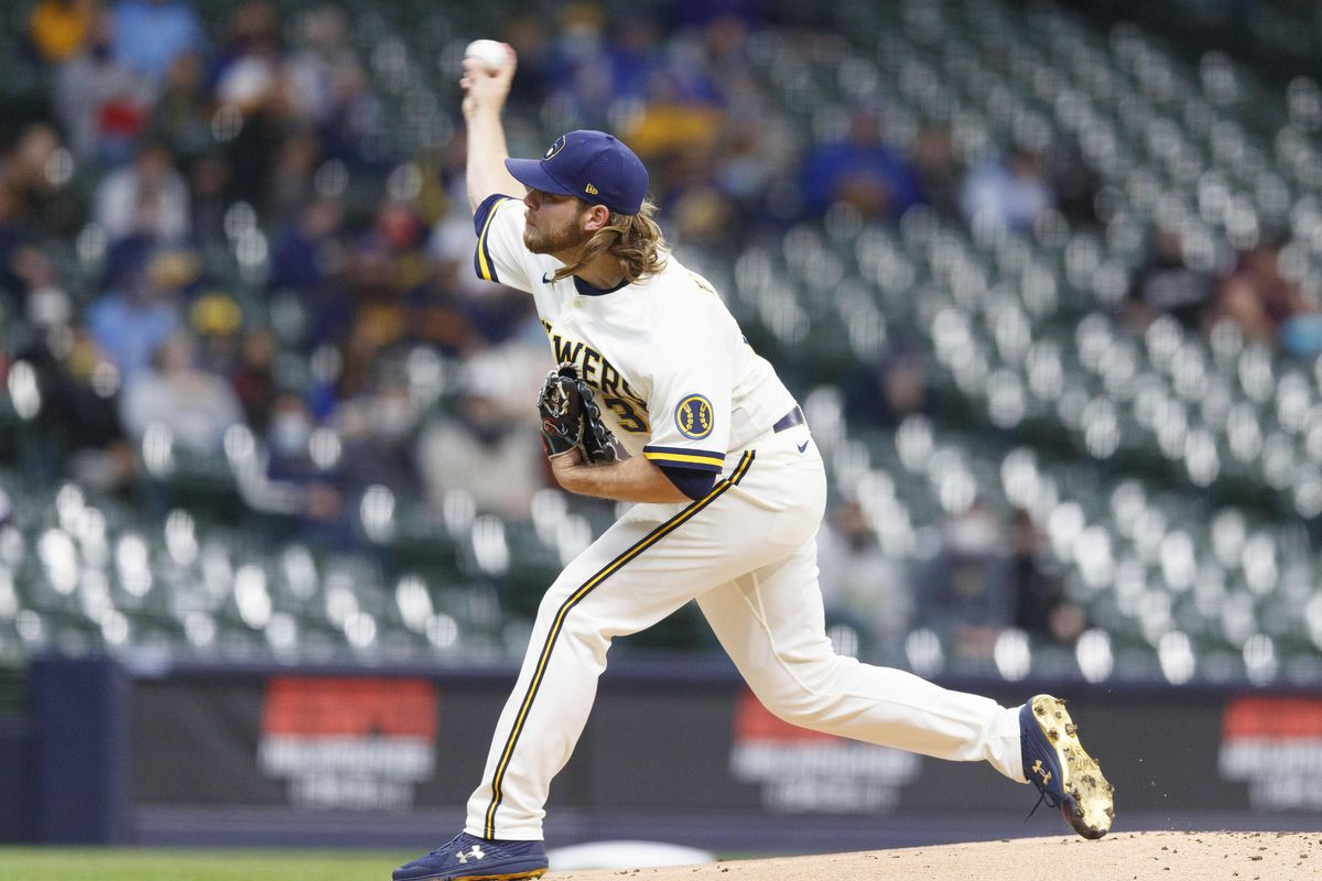 Milwaukee Brewers pitcher Corbin Burnes throws a pitch during the first inning against the Miami Marlins at American Family Field.