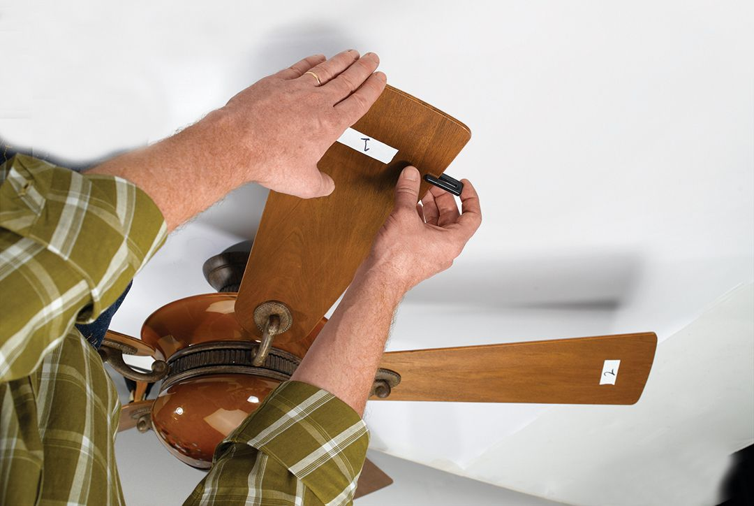 Place Clip In Middle Of Trailing Edge Of Wobbling Blade To Balance Ceiling Fan