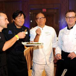 """In this photo taken on Tuesday, Sept. 18, 2012, from left, Chefs Marc Forgione, Ming Tsai, Masaharu Morimoto and actor Matt Damon, participate in """"Cooking Live With Chef Ming Tsai and Friends"""" to benefit the Family Reach Foundation and it's mission to help families fighting pediatric cancer in New York."""
