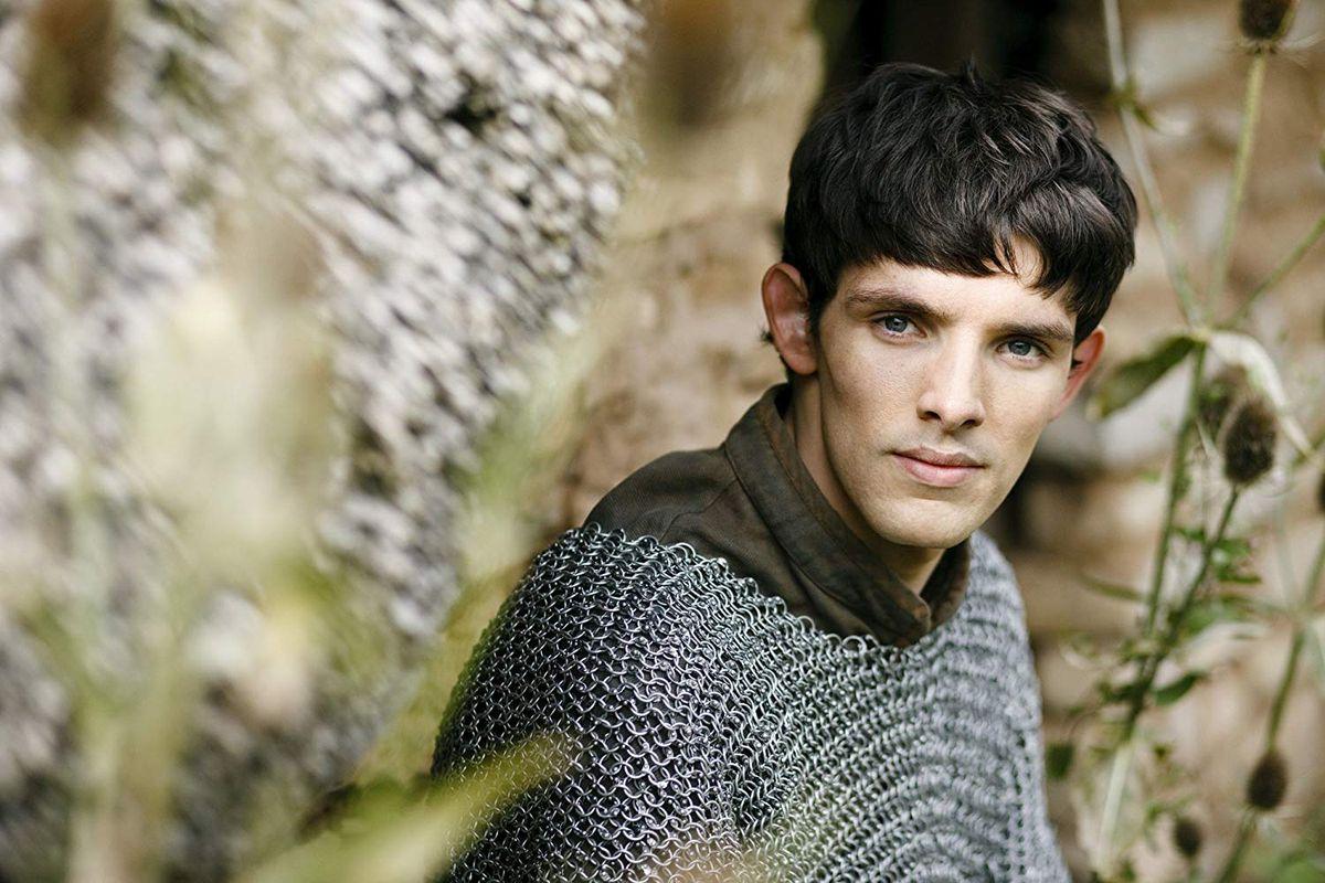 Merlin (Colin Morgan) wears chain mail in a screencap from Merlin