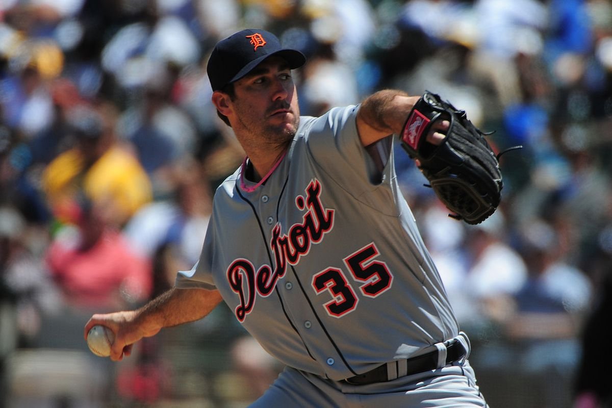 May 13, 2012; Oakland, CA, USA; Detroit Tigers starting pitcher Justin Verlander (35) delivers a pitch during the first inning against the Oakland Athletics at O.co Coliseum. Mandatory Credit: Kyle Terada-US PRESSWIRE