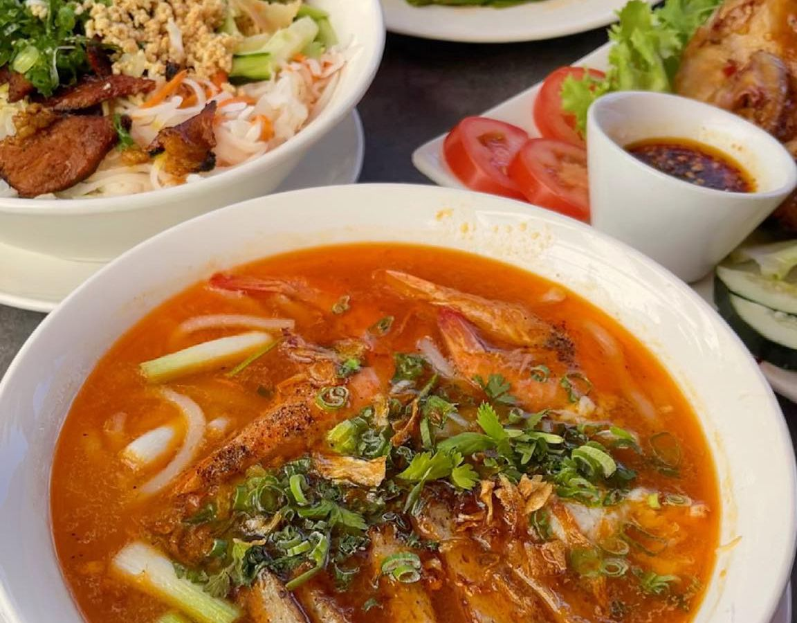 Bánh canh with thick noodles, vermicelli salad, and bang bang chicken