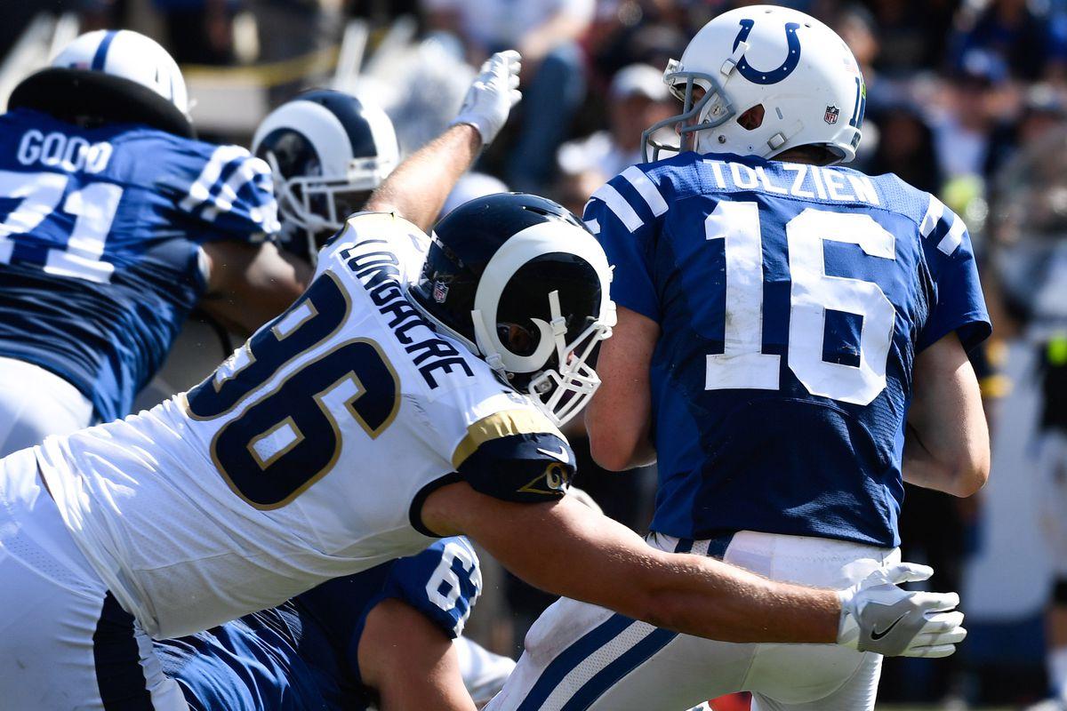 Los Angeles Rams OLB Matt Longacre sacks Indianapolis Colts QB Scott Tolzien
