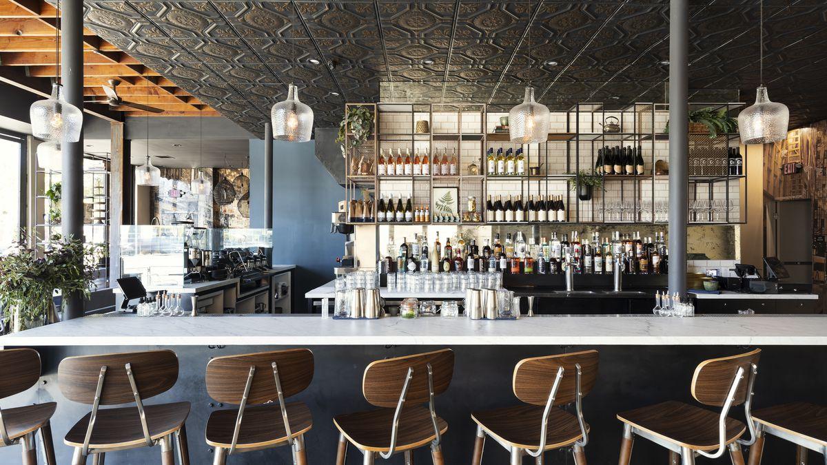 Stone Street Coffee Company's bar area in Los Angeles, California