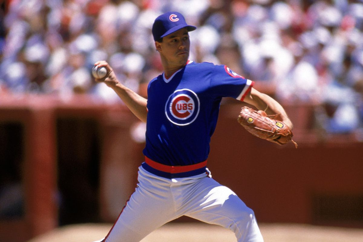 Greg Maddux pitching for the Cubs in the 1989 NLCS