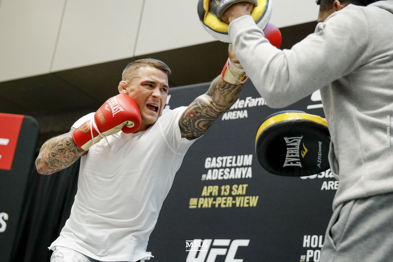 Dustin Poirier (pictured) fights Max Holloway in the interim lightweight championship main event of UFC 236 in Atlanta on Saturday
