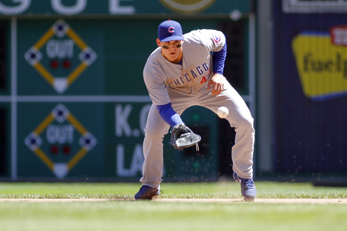 A photo <i>not</i> involving Ryan Dempster: Anthony Rizzo of the Chicago Cubs fields a ground ball against the Pittsburgh Pirates at PNC Park in Pittsburgh, Pennsylvania. (Photo by Justin K. Aller/Getty Images)