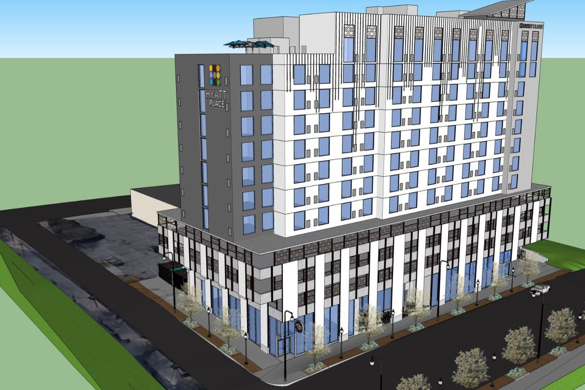 A rendering of Hyatt Place Centennial Park in Atlanta. The building is white with trees in front.