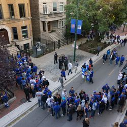 The entry line for one of the rooftop buildings on Sheffield Avenue, before the game