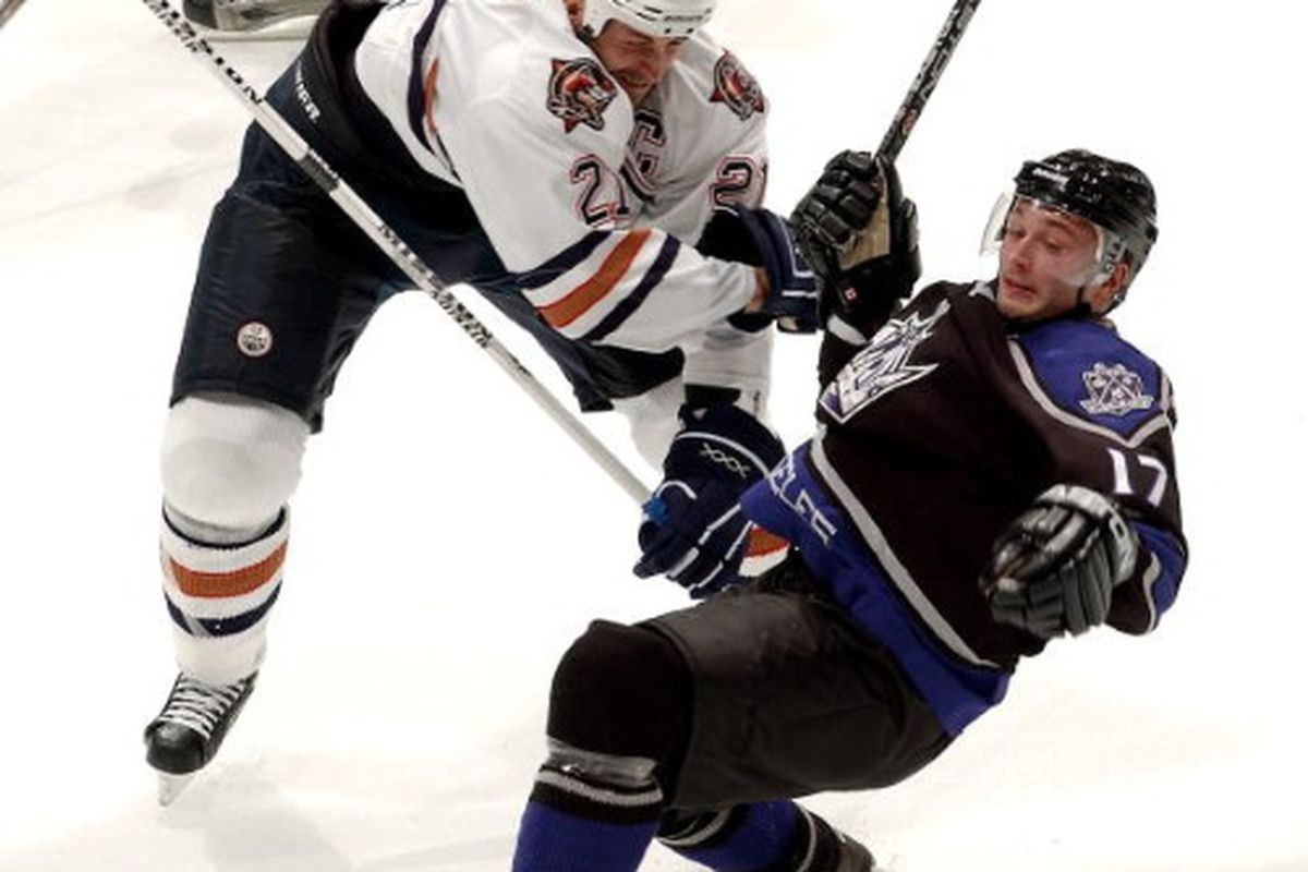 """<strong>Gator doing what Gator did best.  </strong>Photo by Noah Graham/Getty Images via <a href=""""http://view1.picapp.com/pictures.photo/image/2834781/edmonton-oilers-los/edmonton-oilers-los.jpg?size=500&imageId=2834781"""">view1.picapp.com</a>"""