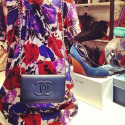 """Chanel and Celine light up the window of The Closet via <a href=""""http://instagram.com/p/WpLigNwfjR/"""">@theclosetboston</a>."""