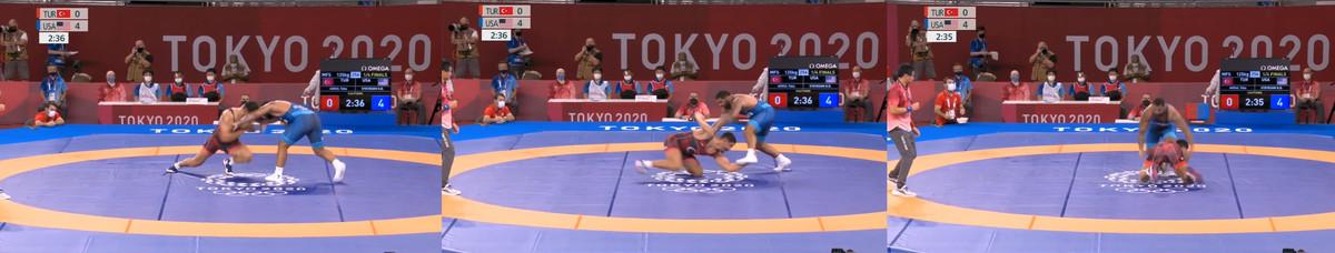 Taha Akgul shoots on Gable Steveson Tokyo Olympics
