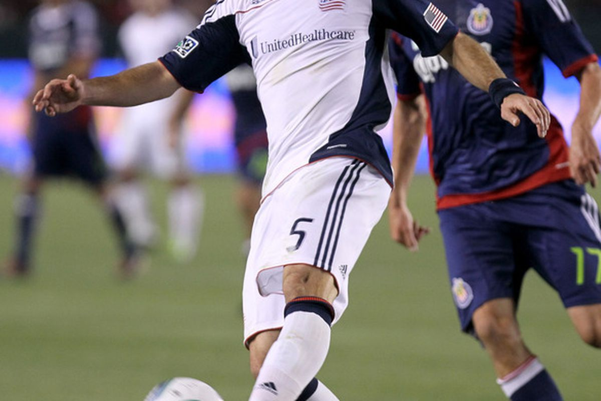 CARSON, CA - APRIL 30: A.J. Soares #5 of the New England Revolution controls the ball against Chivas USA at The Home Depot Center on April 30, 2011 in Carson, California.  Chivas USA won 3-0.   (Photo by Stephen Dunn/Getty Images)