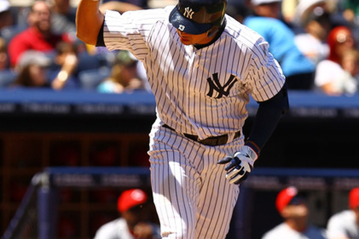 NEW YORK, NY - MAY 20:  Alex Rodriguez #13 of the New York Yankees reacts after popping up against the Cincinnati Reds during their game on May 20, 2012 at Yankee Stadium in the Bronx borough of New York City.  (Photo by Al Bello/Getty Images)