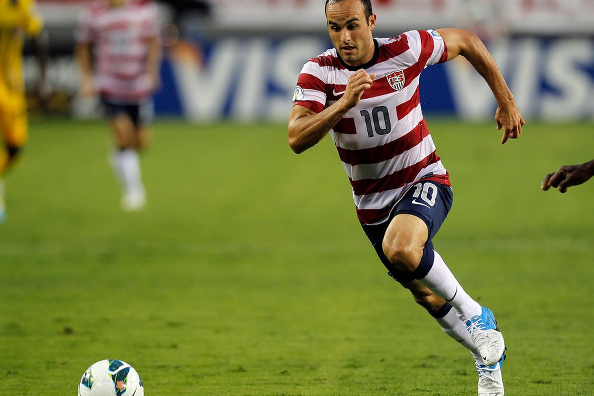 TAMPA, FL - JUNE 08:  Forward Landon Donovan #10 of Team USA advances the ball against Team Antigua and Barbuda during the FIFA World Cup Qualifier Match at Raymond James Stadium on June 8, 2012 in Tampa, Florida.  (Photo by J. Meric/Getty Images)