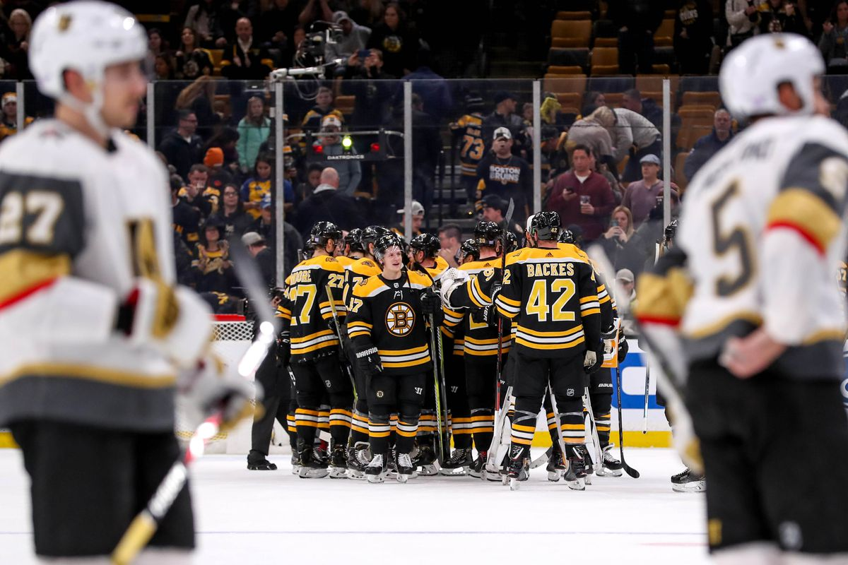 Nov 11, 2018; Boston, MA, USA; Boston Bruins celebrate after defeating the Vegas Golden Knights at TD Garden.