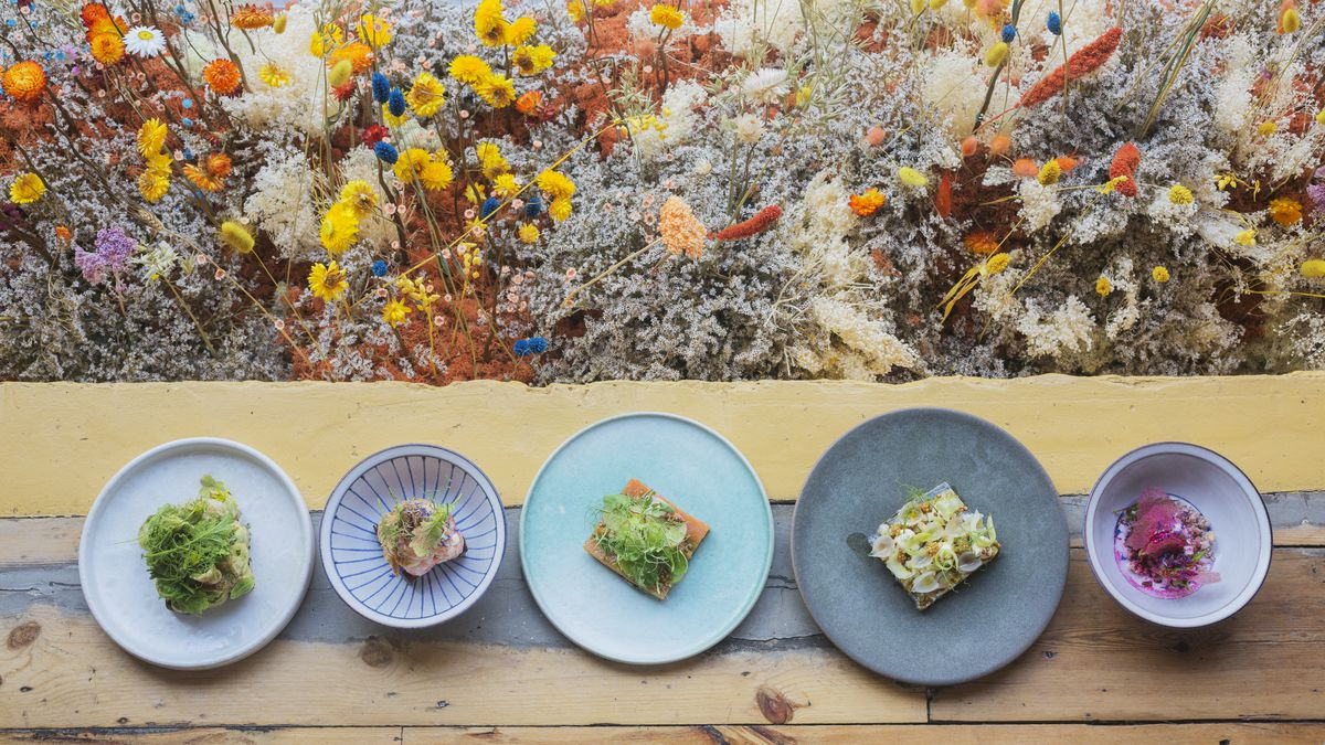 From above, a row of five blue, patterned dishes sit on a long wooden surface across the bottom of the image, while the rest of the pictures is filled with a rainbow of wild flowers