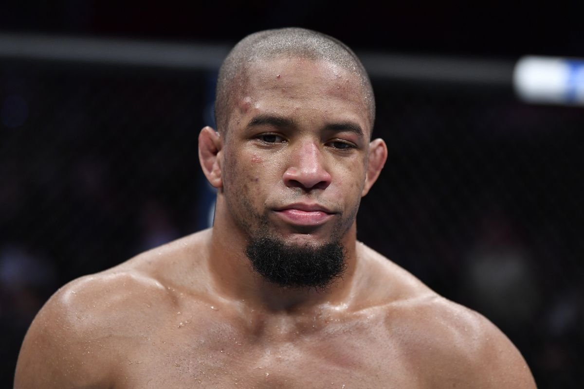 Tony Gravely reacts to his submission loss to Brett Johns of Wales in their bantamweight bout during the UFC Fight Night event at PNC Arena on January 25, 2020 in Raleigh, North Carolina.