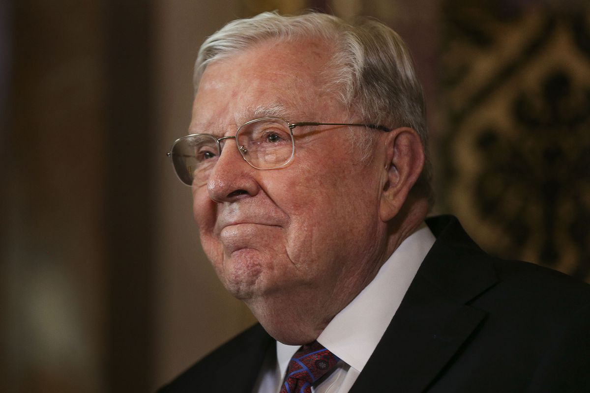 President M. Russell Ballard miles during a recognition ceremony.