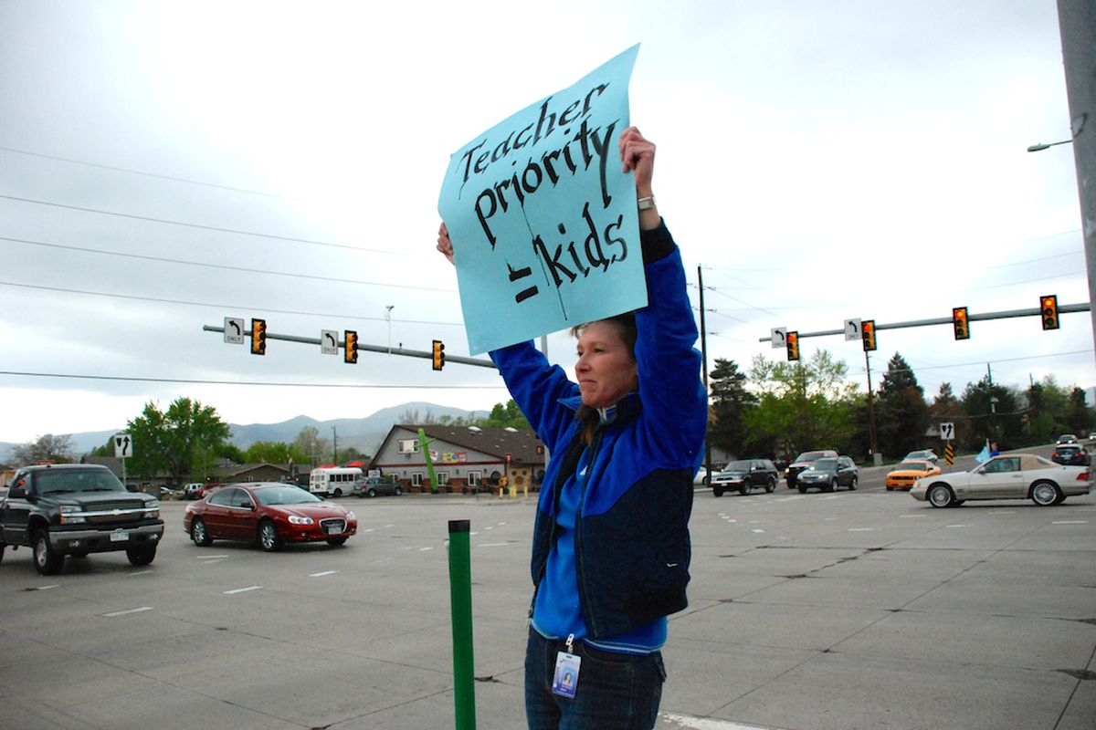 """A Jeffco Public Schools teacher last spring rallied with hundreds of others along Wadsworth Boulevard against the district's board majority. The board majority Thursday night rejected a third party's recommendation to give pay raises to """"partly effective"""" teachers."""