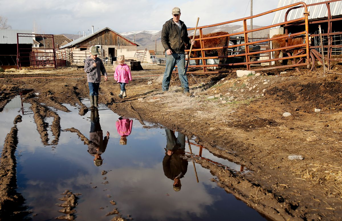 Addison Hicken walks with two of his kids Evan and Laynie and they work on the farm in Heber on Wednesday, March 11, 2020.