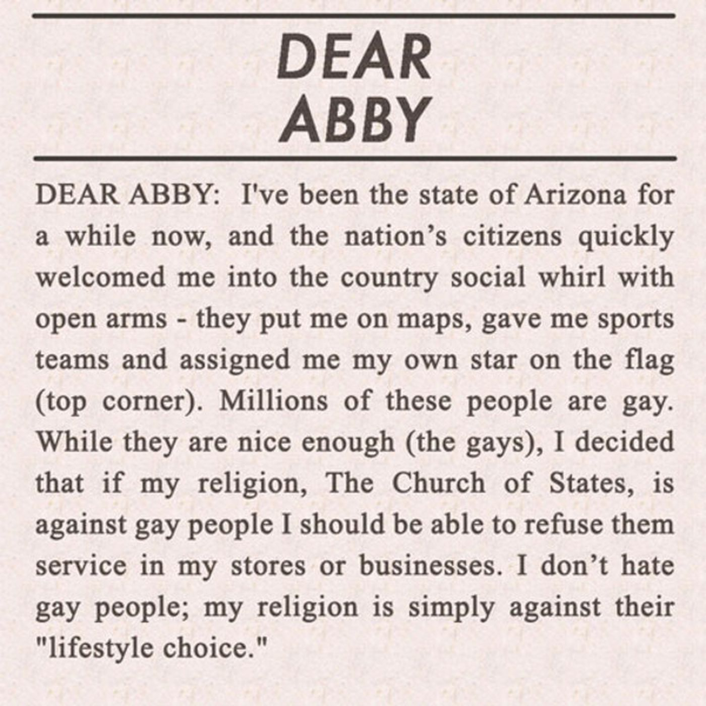 Arizona's Letter To 'Dear Abby'   Funny Or Die