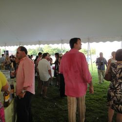 A typical look in the sweltering tent.