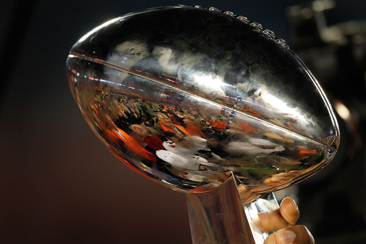 MIAMI GARDENS, FL - A detailed shot of the Vince Lombardi Trophy held by New Orleans Saints head coach Sean Payton after his team defeated the Indianapolis Colts during Super Bowl XLIV at Sun Life Stadium.