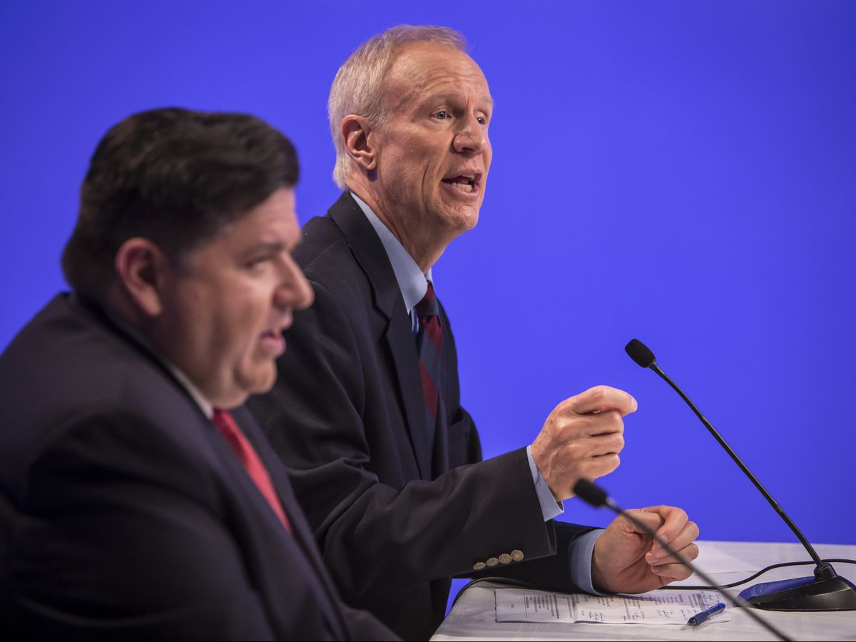 Gov. Bruce Rauner and Democrat J.B. Pritzker met in a debate Tuesday at the Sun-Times. | Rich Hein/Sun-Times