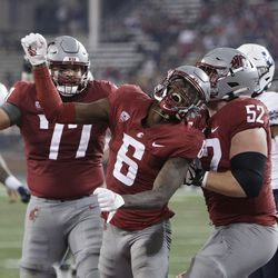 Washington State wide receiver Donovan Ollie (6) celebrates his touchdown with offensive lineman Konner Gomness (77) and offensive lineman Jarrett Kingston (52) during the second half of an NCAA college football game against Utah State, Saturday, Sept. 4, 2021, in Pullman, Wash. Utah State won 26-23.