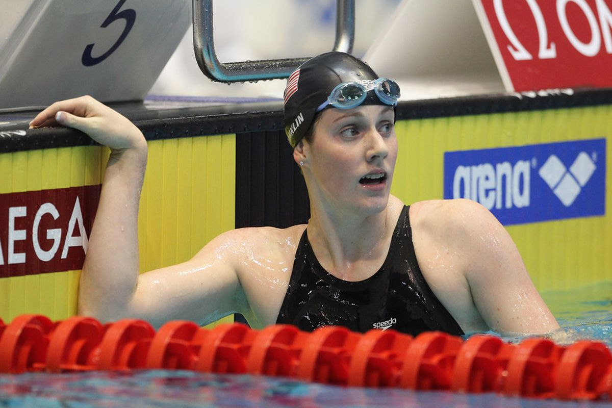 Missy Franklin of USA reacts after winning the women's 100 m freestyle A final during day two of the Swimming World Cup 2011 at the Eurosportpark in Berlin, Germany.  (Photo by Boris Streubel/Bongarts/Getty Images)