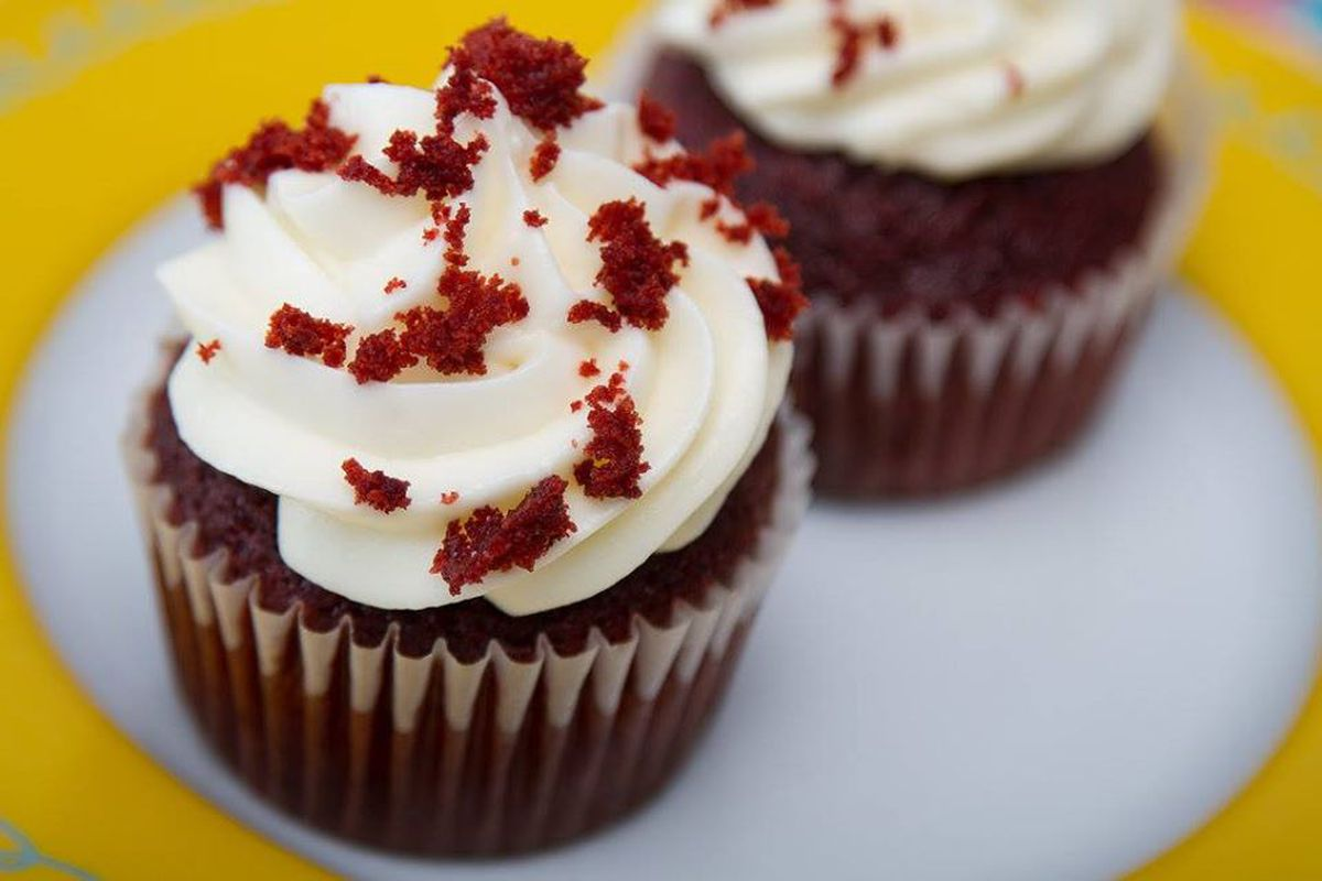 two red velvet cupcakes