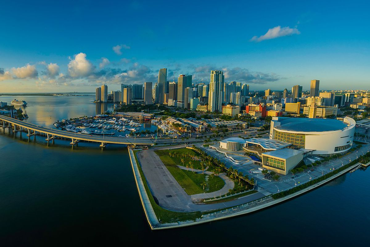 An aerial of downtown Miami and Brickell