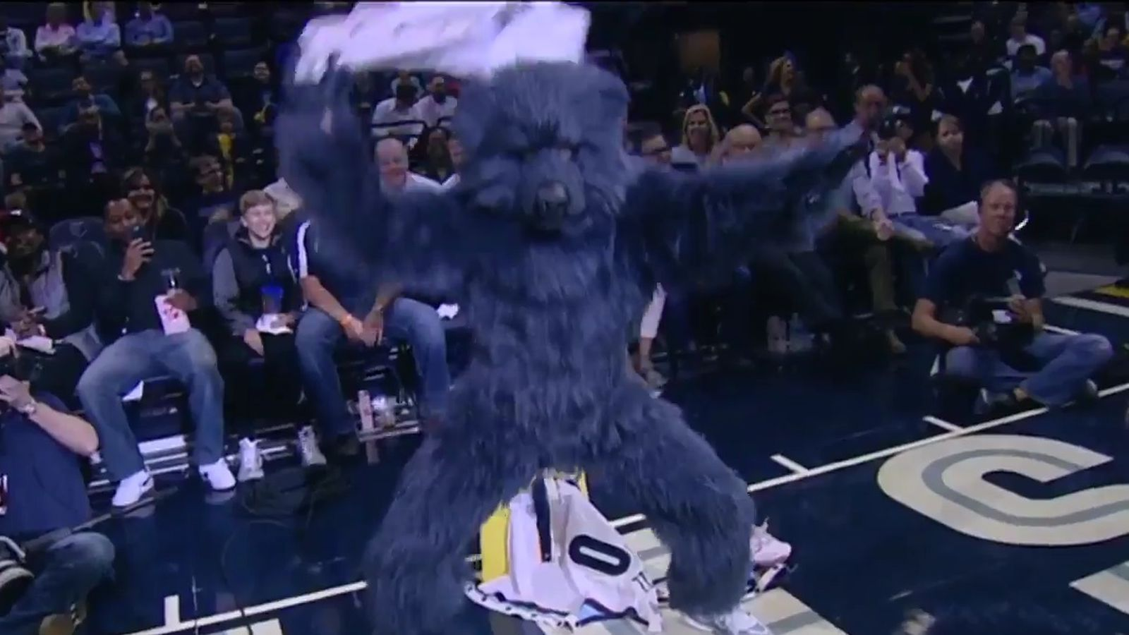 The Grizzlies mascot stripping and dancing to 'Pony' is