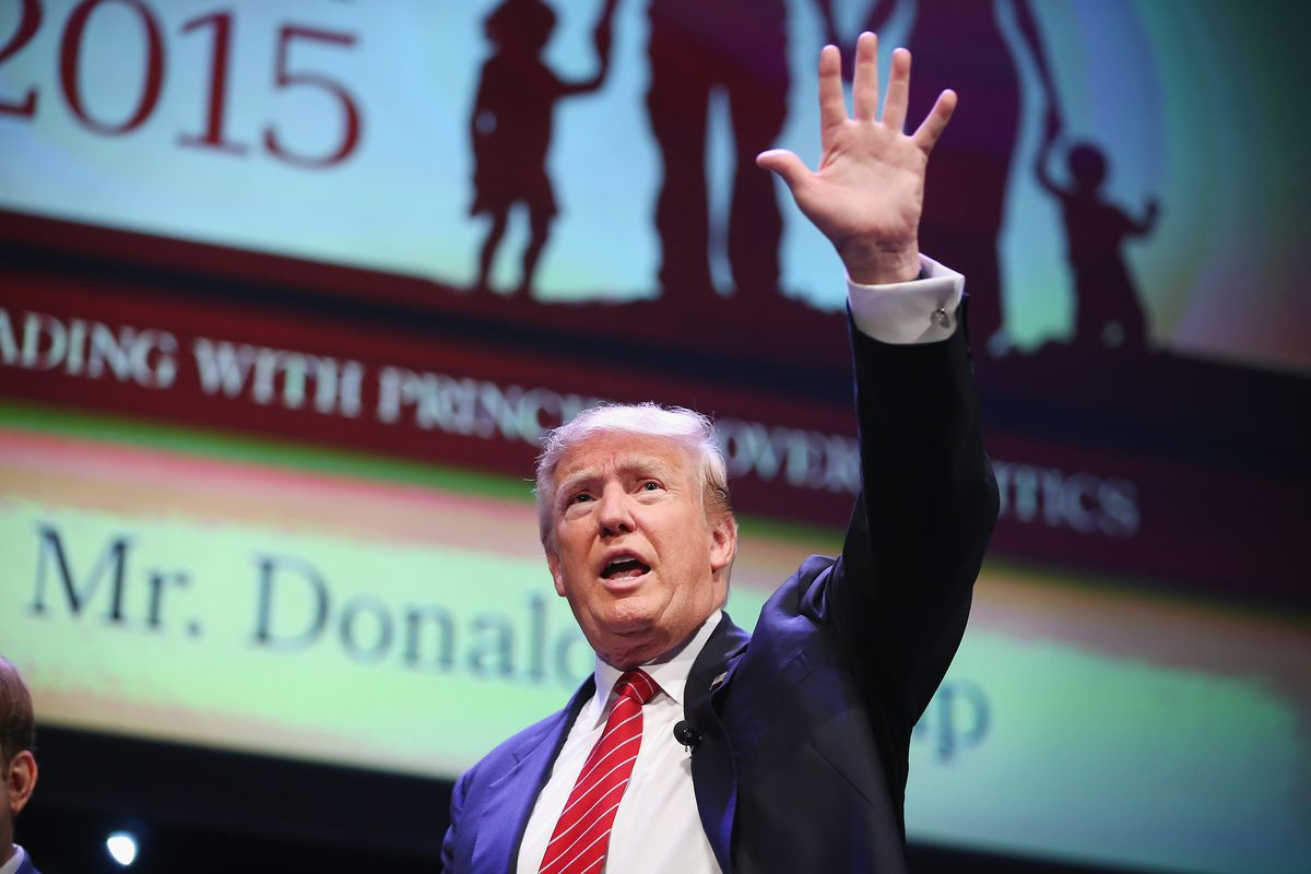 Republican presidential hopeful businessman Donald Trump fields questions at The Family Leadership Summit at Stephens Auditorium on July 18, 2015 in Ames, Iowa.