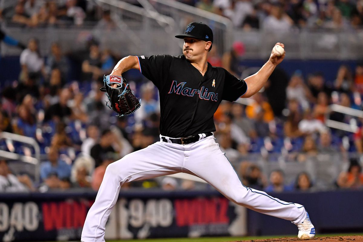 Miami Marlins starting pitcher Caleb Smith throws in the third inning against the Kansas City Royals at Marlins Park.