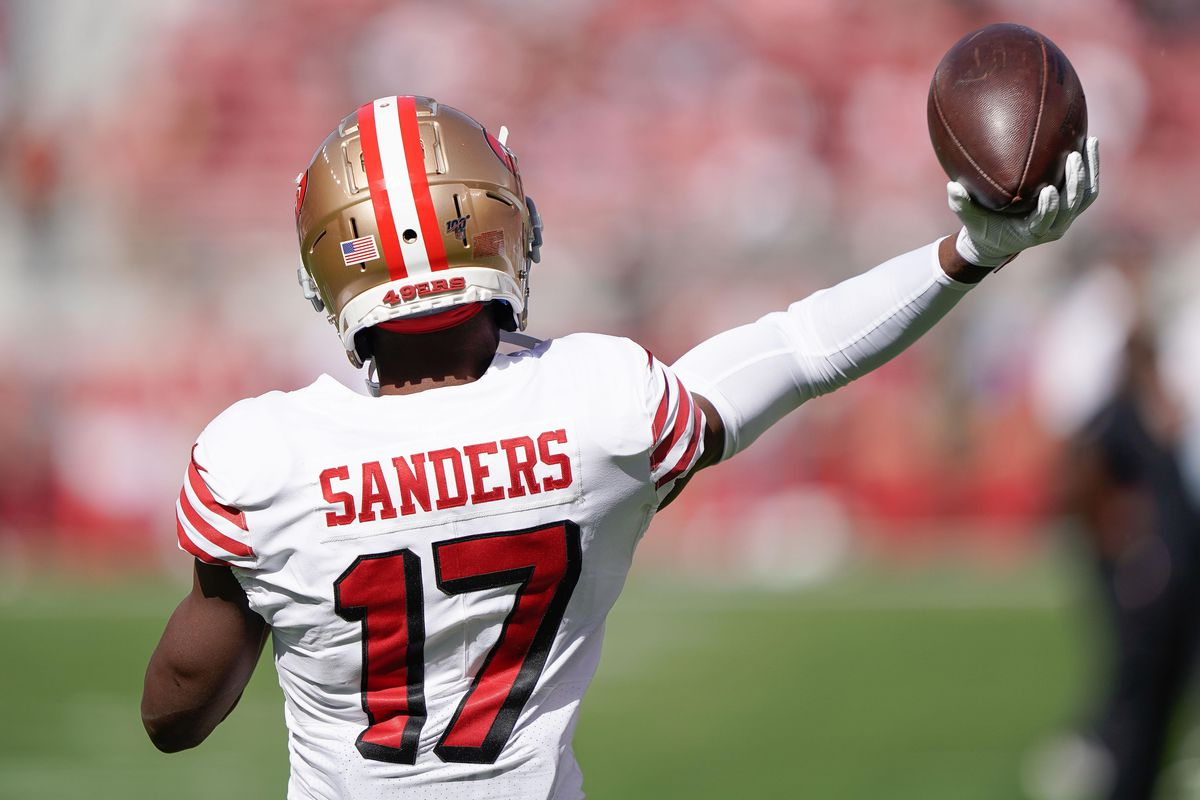 San Francisco 49ers wide receiver Emmanuel Sanders warms up before the game against the Carolina Panthers at Levi's Stadium.