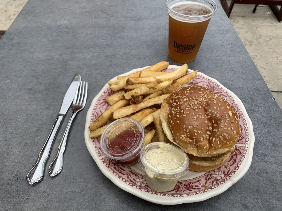 A burger and thick fries