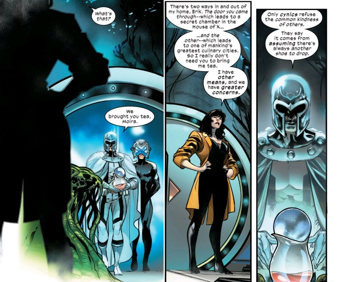 """Magneto and Professor X bring Moira tea in her no-place hideout, and she mentions that she has a door to """"one of mankind's greatest culinary cities,"""" in Powers of X #6, Marvel Comics (2019)."""