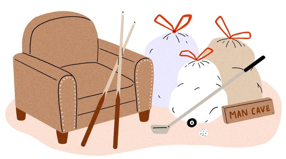 Two pool cues propped against a tan armchair next to a pile of tied garbage bags. In the pile of garbage there's a discarded golf club, pool cue and 'man cave' sign. Illustration.