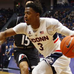 The Cincinnati Bearcats take on the UConn Huskies in a men's college basketball game at the XL Center in Hartford, CT on February 24, 2019.