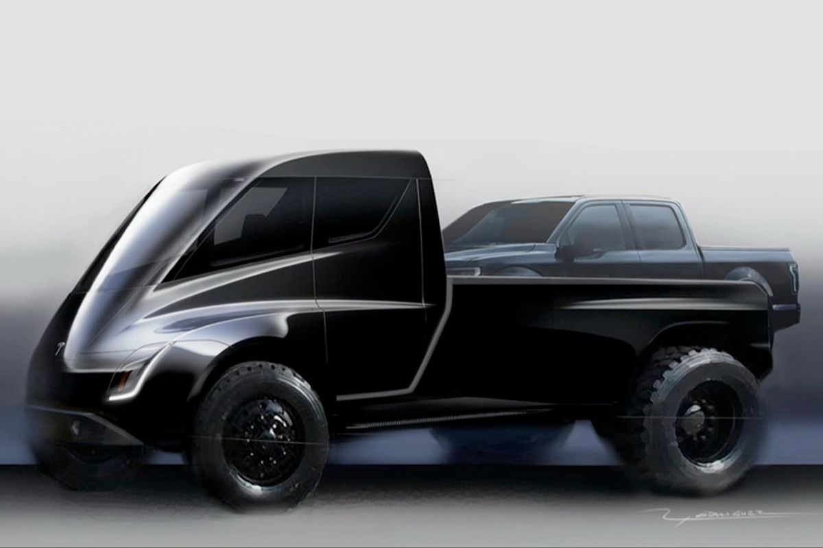 An early concept image of the pickup truck shown at the unveiling of the Tesla Semi.