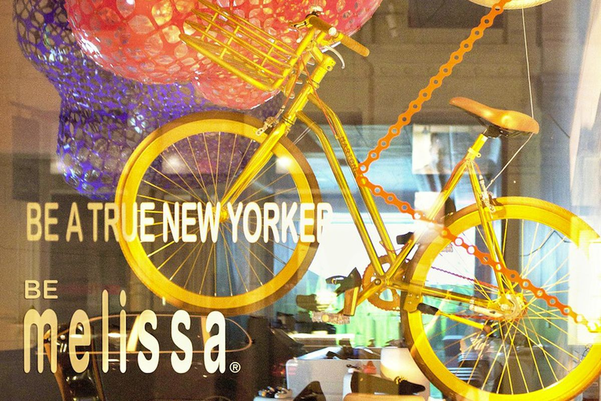 "The Melissa x Martone Cycling Co. installation via <a href=""https://www.facebook.com/photo.php?fbid=10151709702158541&amp;set=a.181751053540.126881.178102923540&amp;type=1"">Facebook</a>"