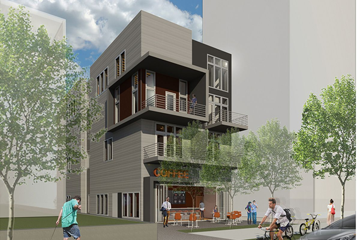 A four-story modern, boxy building, with balconies and a coffee shop at the ground floor.